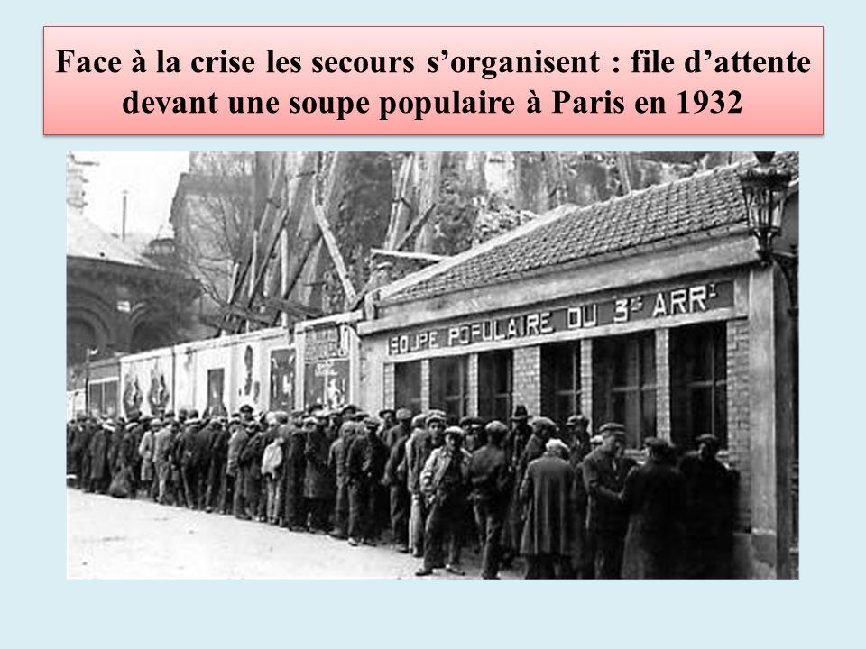 Face à la crise les secours s'organisent : file d'attente devant une soupe populaire à Paris en 1932