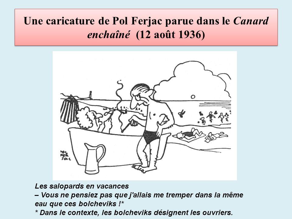 Une caricature de Pol Ferjac parue dans le Canard enchaîné (12 août 1936)