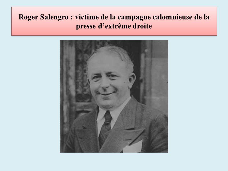 Roger Salengro : victime de la campagne calomnieuse de la presse d'extrême droite