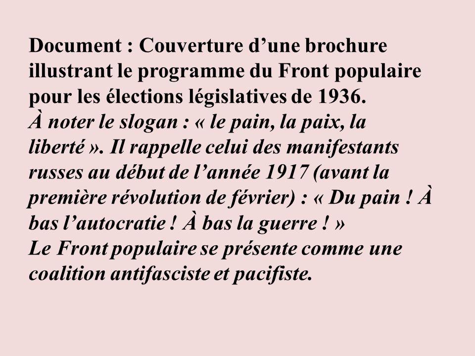 Document : Couverture d'une brochure illustrant le programme du Front populaire pour les élections législatives de 1936.