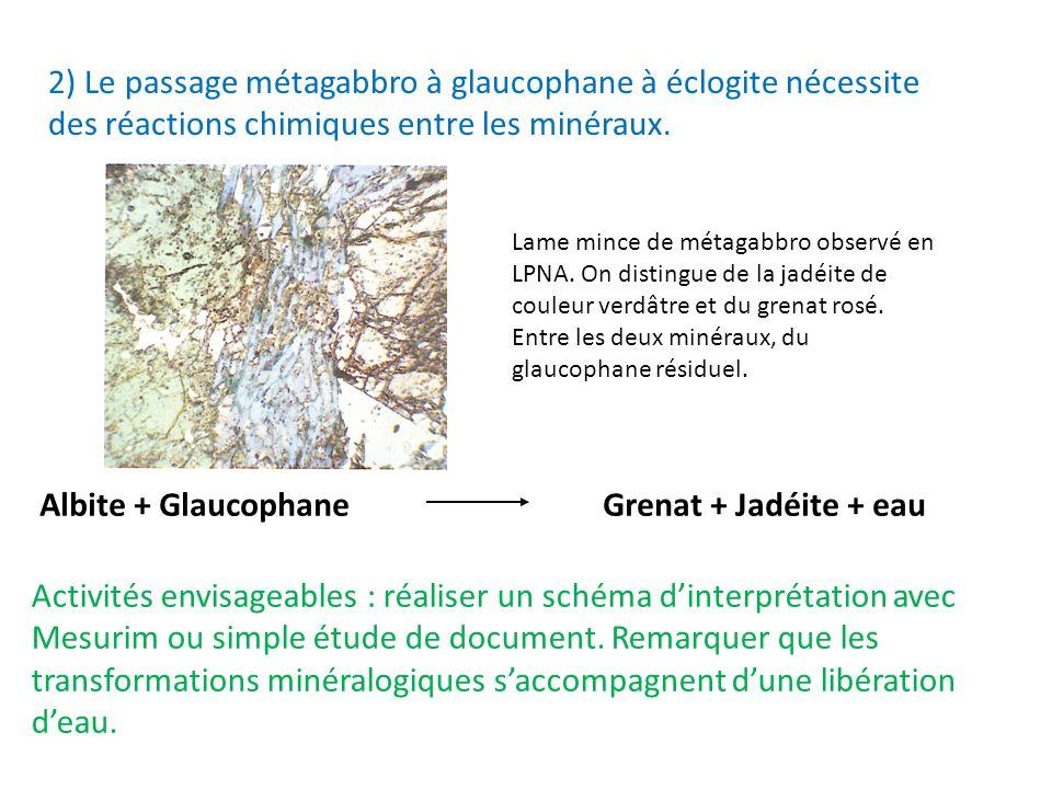2) Le passage métagabbro à glaucophane à éclogite nécessite