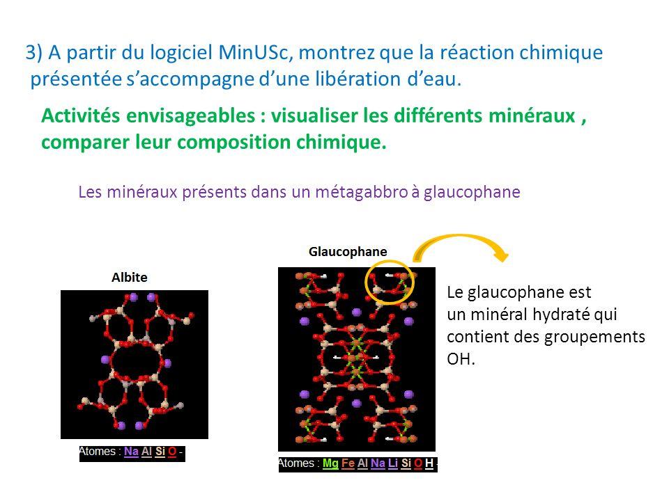 3) A partir du logiciel MinUSc, montrez que la réaction chimique