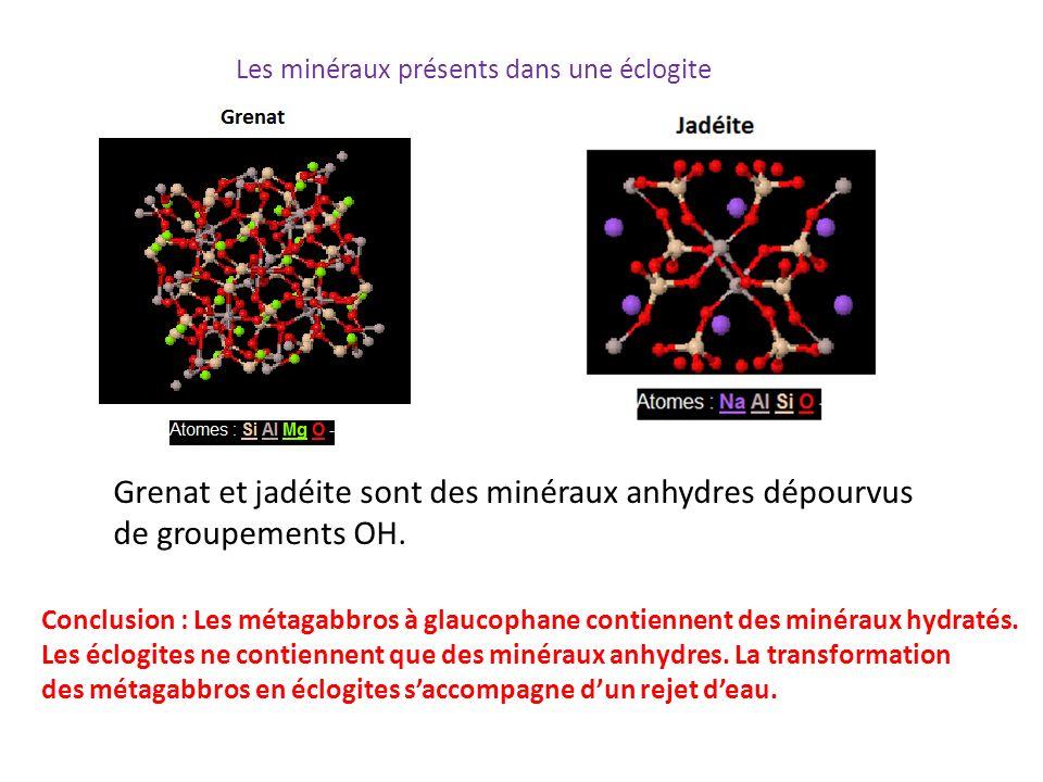 Grenat et jadéite sont des minéraux anhydres dépourvus