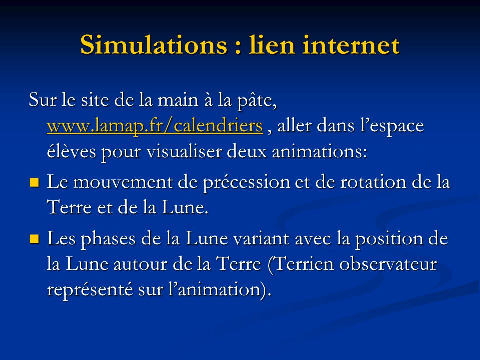 Simulations : lien internet
