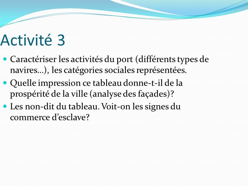 Activité 3 Caractériser les activités du port (différents types de navires…), les catégories sociales représentées.
