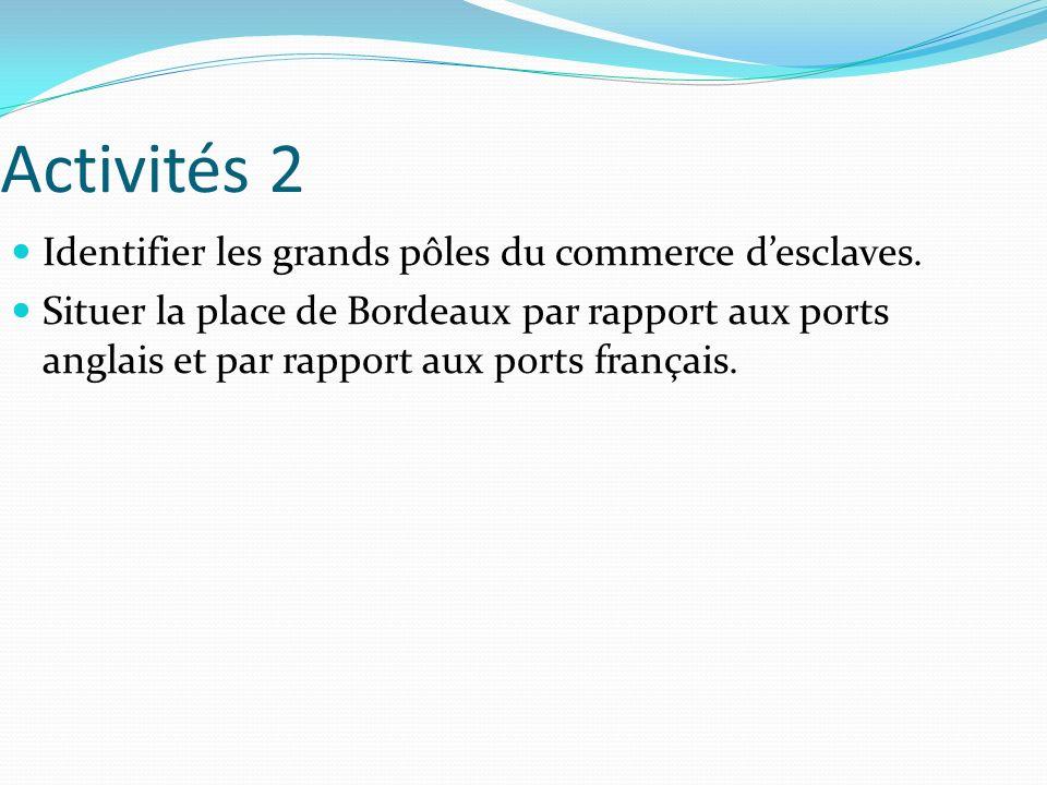 Activités 2 Identifier les grands pôles du commerce d'esclaves.