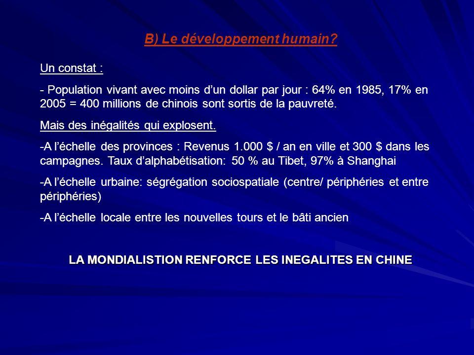B) Le développement humain