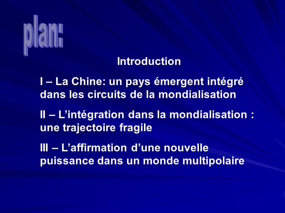 plan: Introduction. I – La Chine: un pays émergent intégré dans les circuits de la mondialisation.