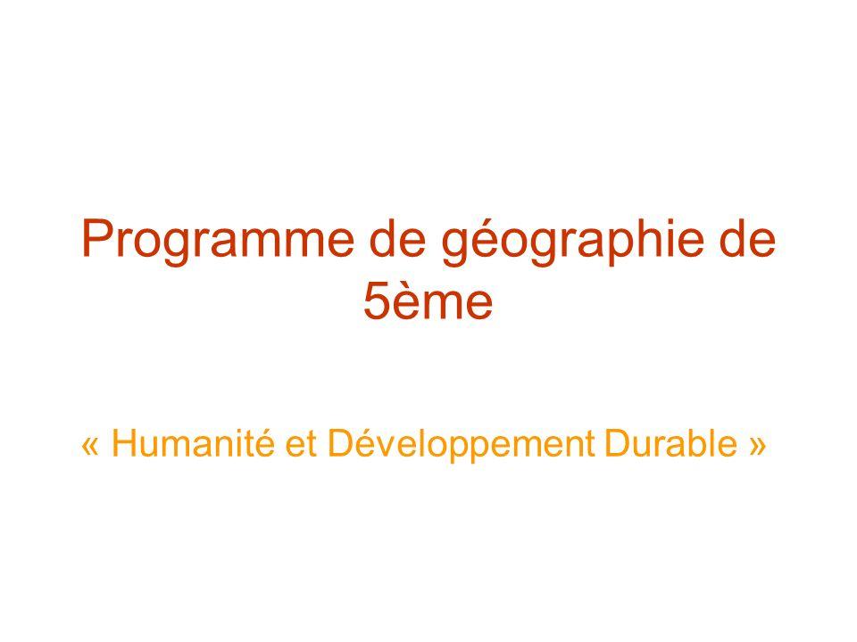Programme de géographie de 5ème