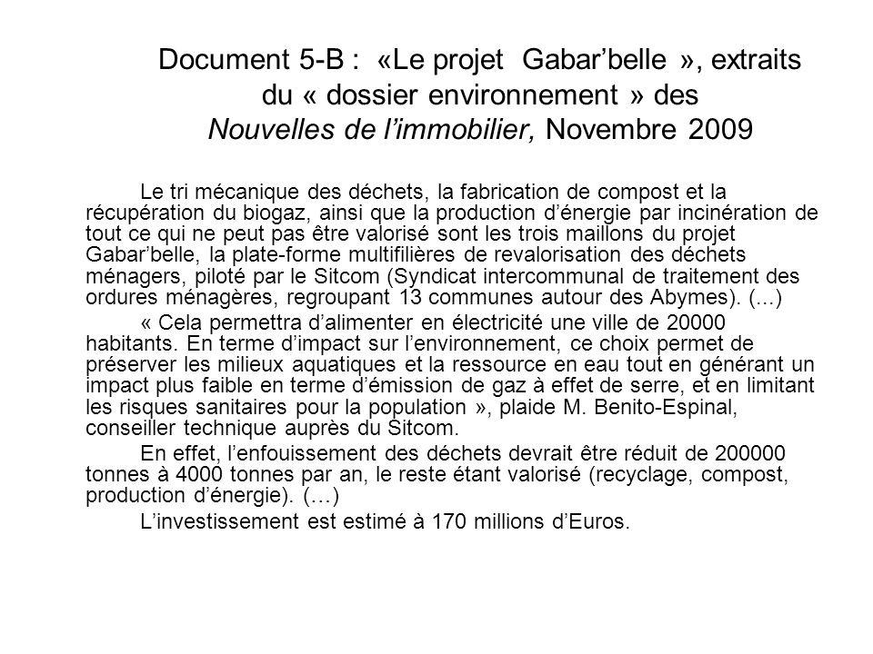 Document 5-B : «Le projet Gabar'belle », extraits du « dossier environnement » des Nouvelles de l'immobilier, Novembre 2009