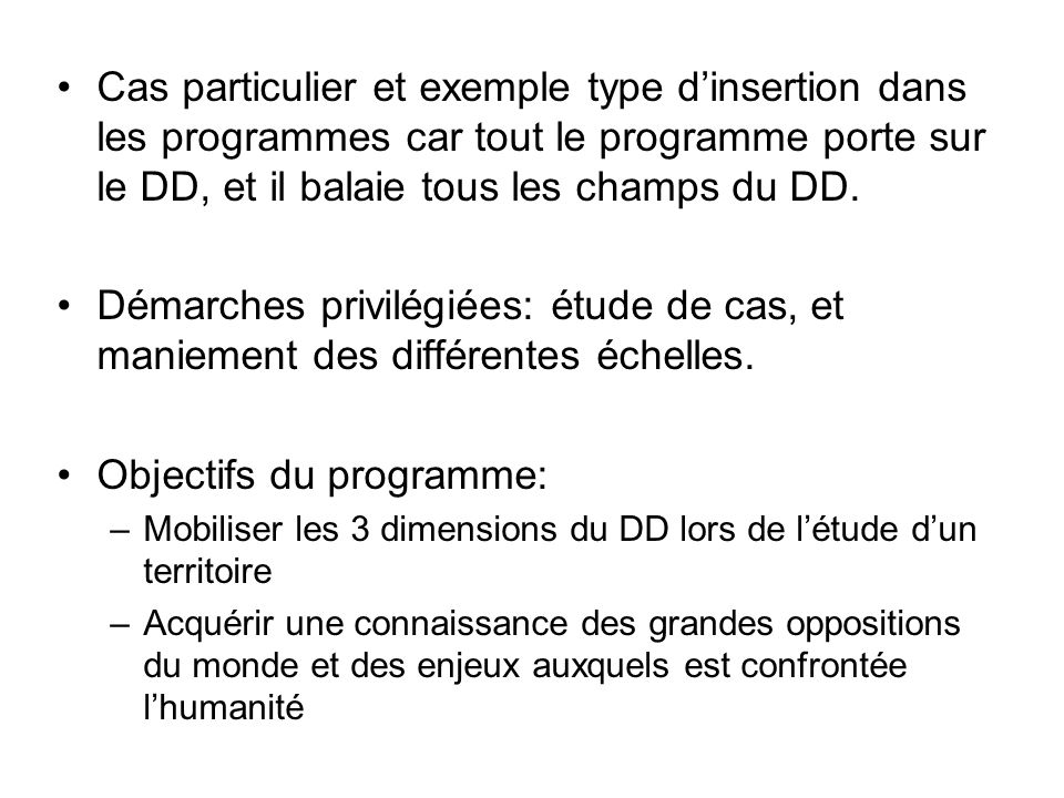 Objectifs du programme: