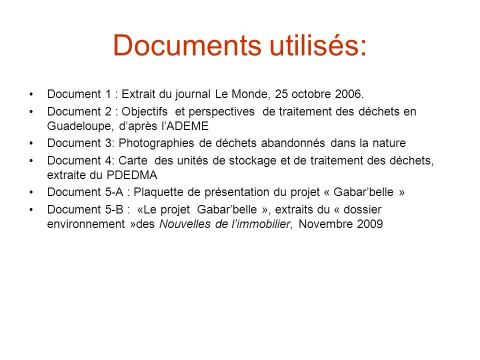 Documents utilisés: Document 1 : Extrait du journal Le Monde, 25 octobre 2006.