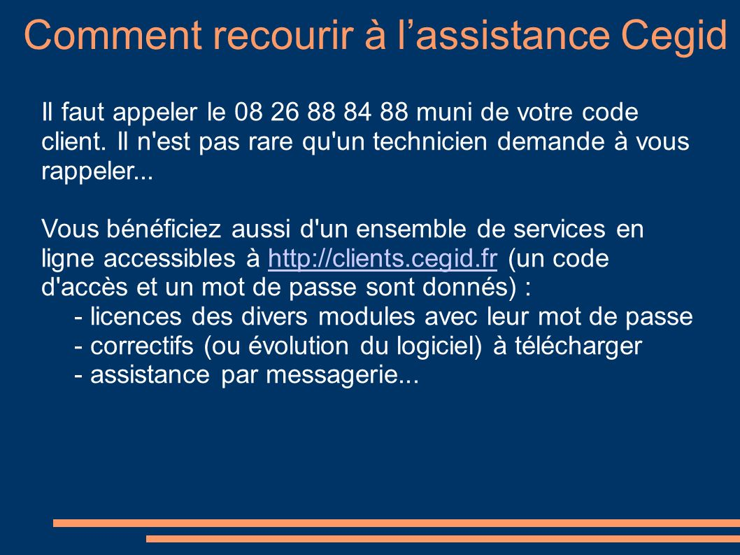 Comment recourir à l'assistance Cegid