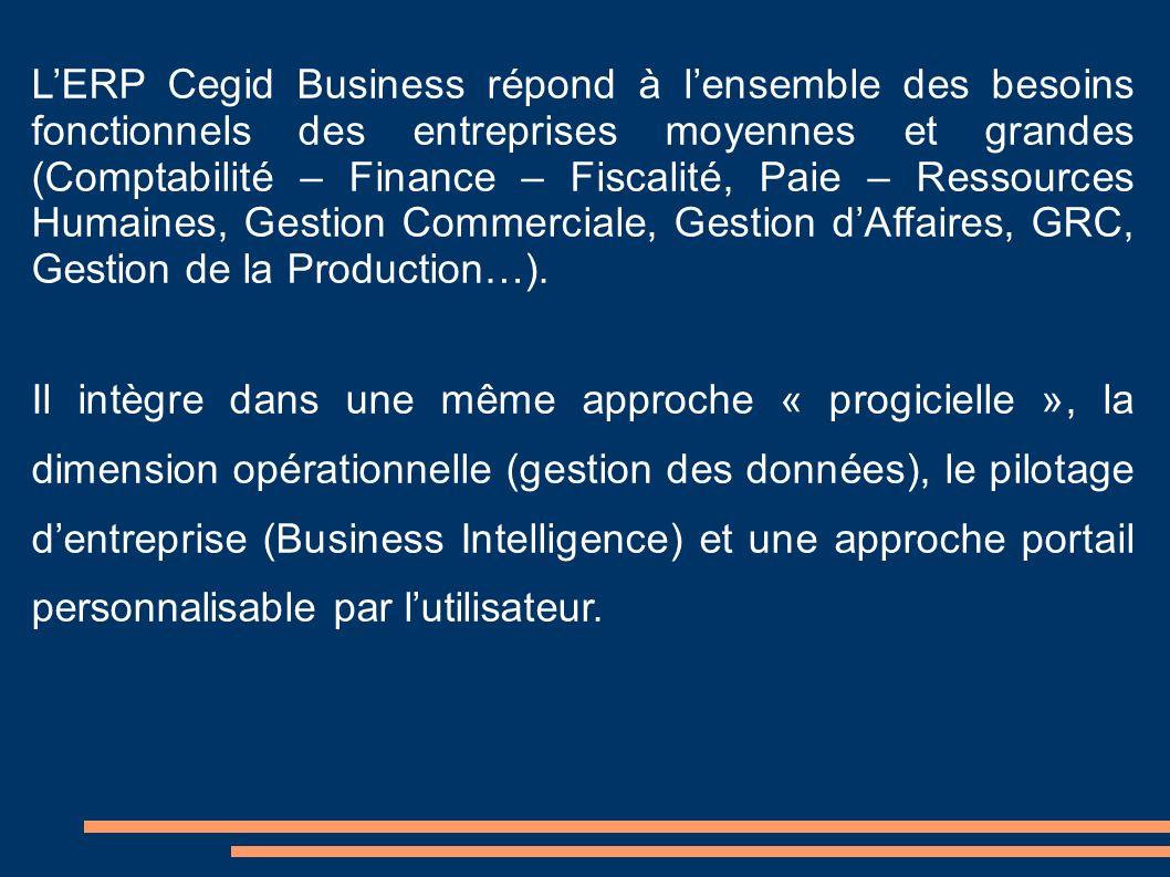 L'ERP Cegid Business répond à l'ensemble des besoins fonctionnels des entreprises moyennes et grandes (Comptabilité – Finance – Fiscalité, Paie – Ressources Humaines, Gestion Commerciale, Gestion d'Affaires, GRC, Gestion de la Production…).