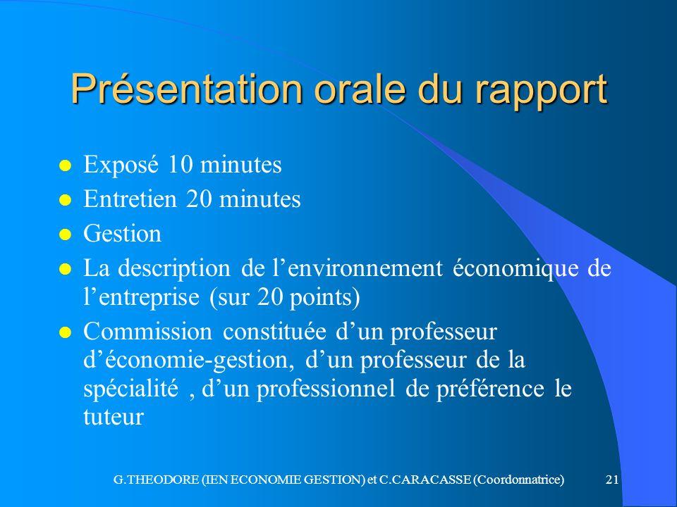 Présentation orale du rapport