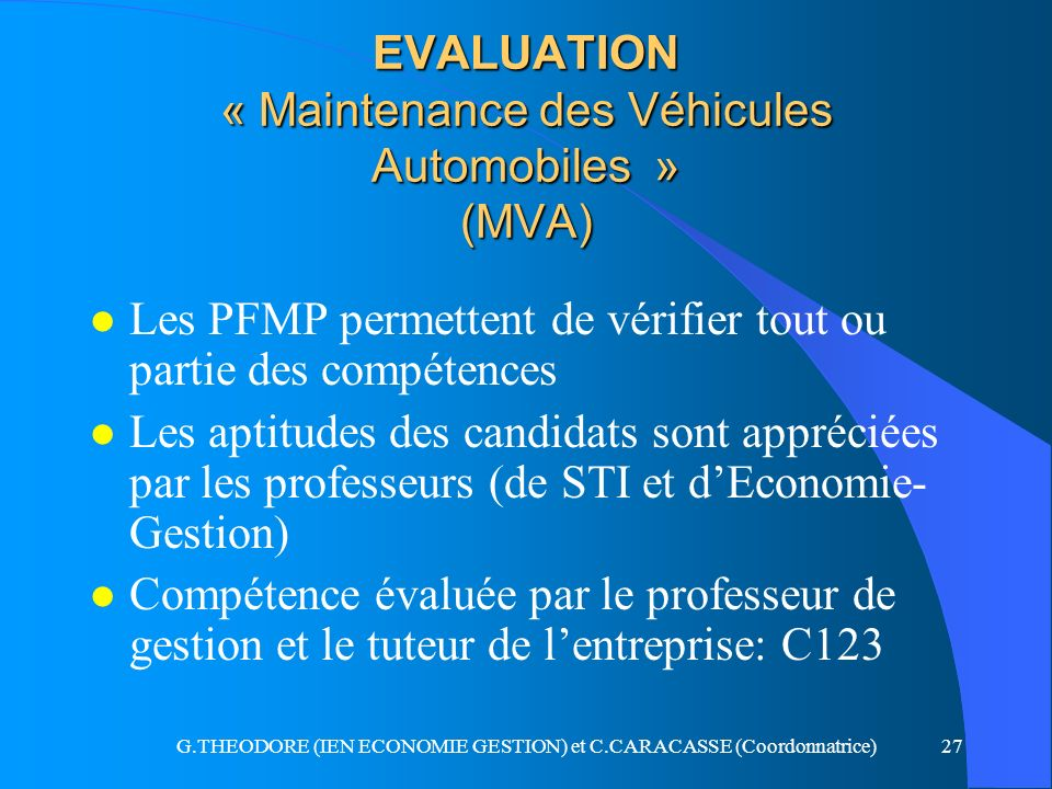 EVALUATION « Maintenance des Véhicules Automobiles » (MVA)