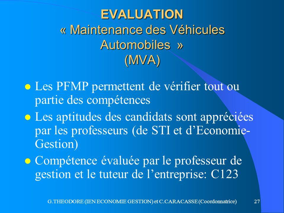 EVALUATION « Maintenance des Véhicules Automobiles » (MVA)