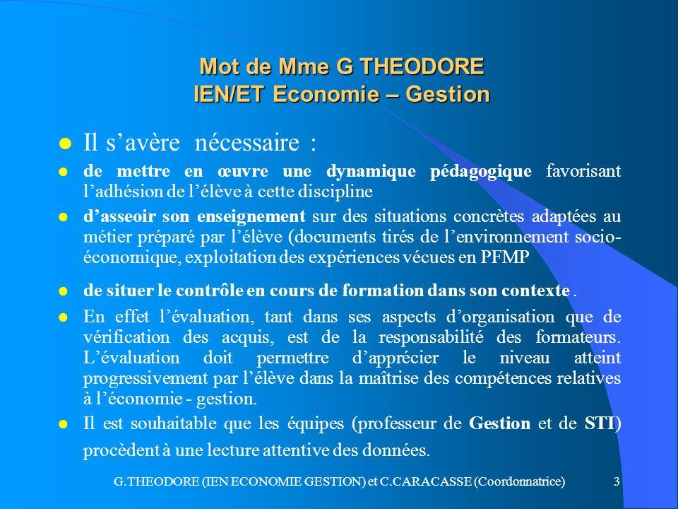 Mot de Mme G THEODORE IEN/ET Economie – Gestion
