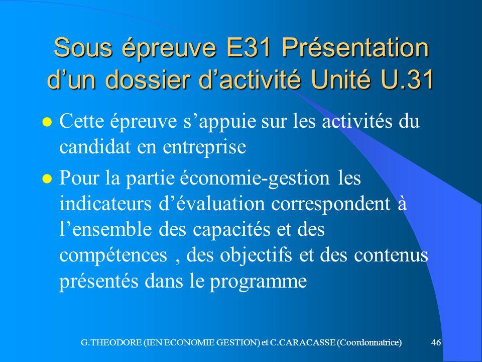 Sous épreuve E31 Présentation d'un dossier d'activité Unité U.31