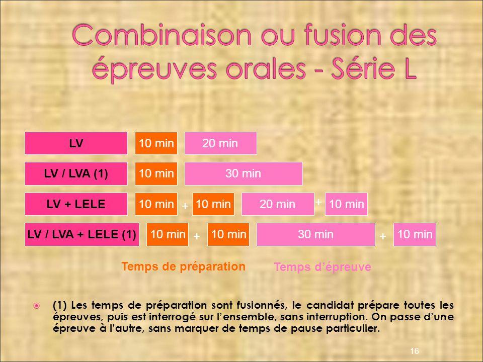 Combinaison ou fusion des épreuves orales - Série L
