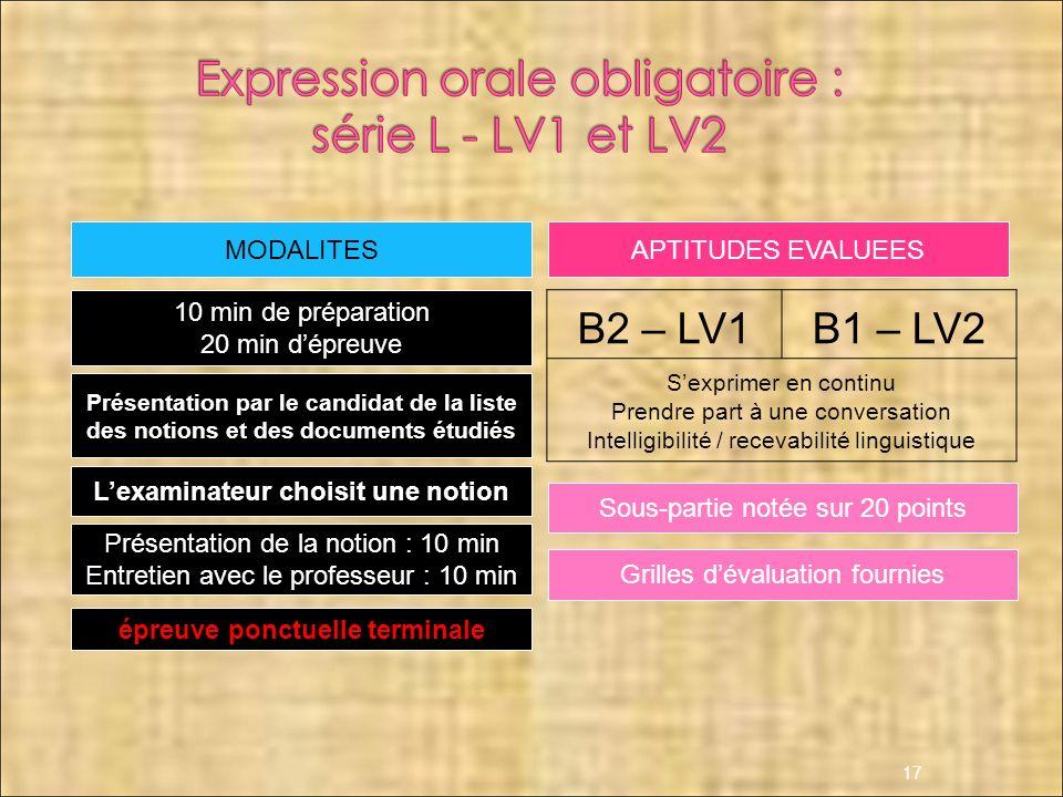 Expression orale obligatoire : série L - LV1 et LV2