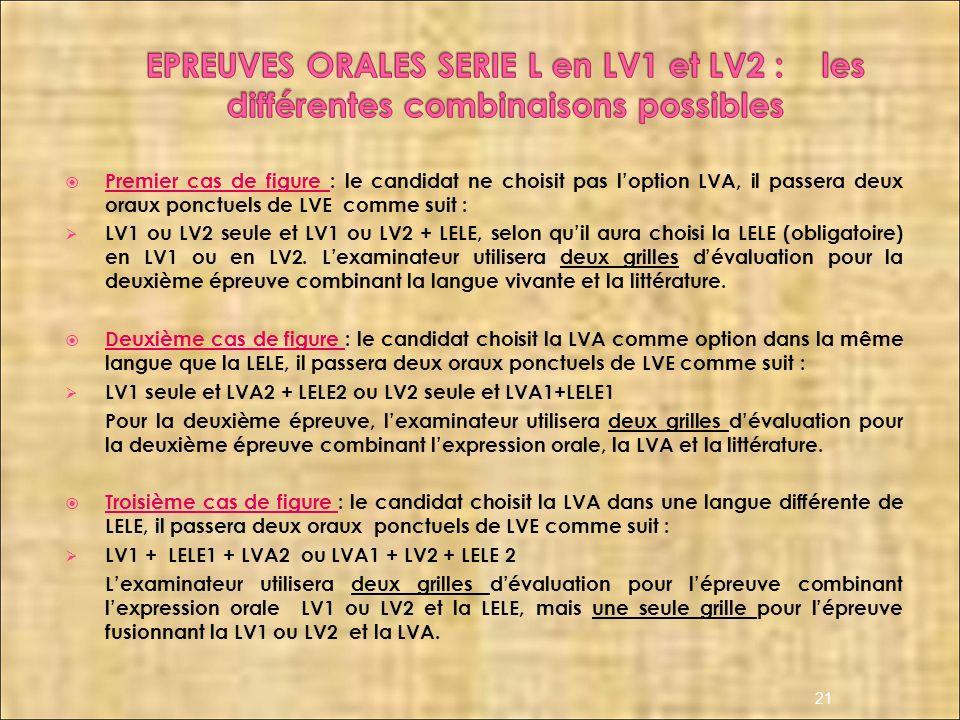 EPREUVES ORALES SERIE L en LV1 et LV2 : les différentes combinaisons possibles