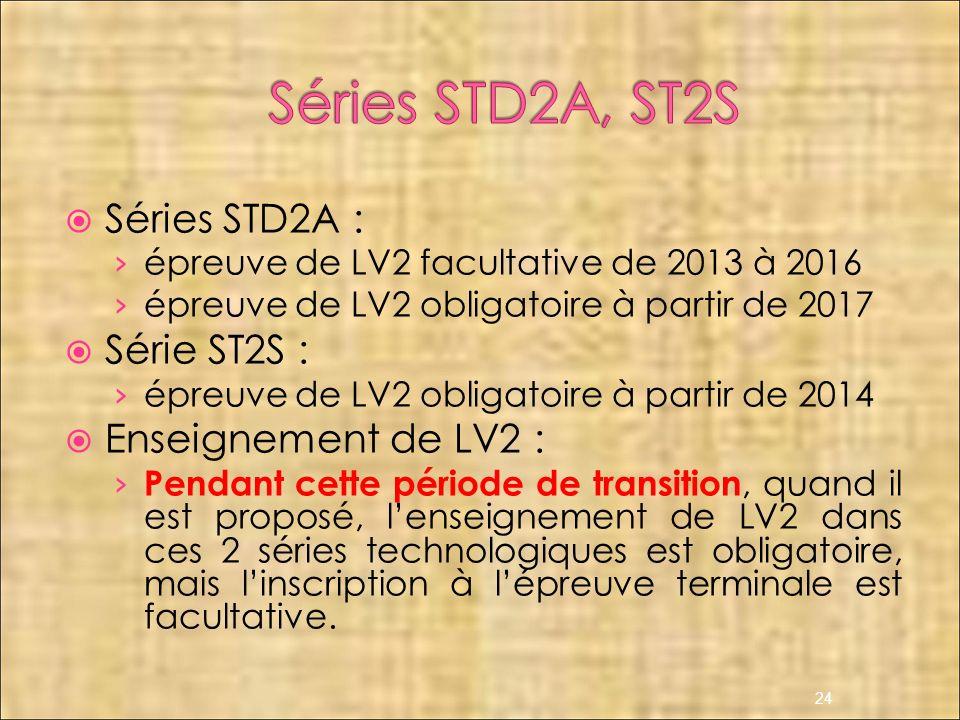 Séries STD2A, ST2S Séries STD2A : Série ST2S : Enseignement de LV2 :