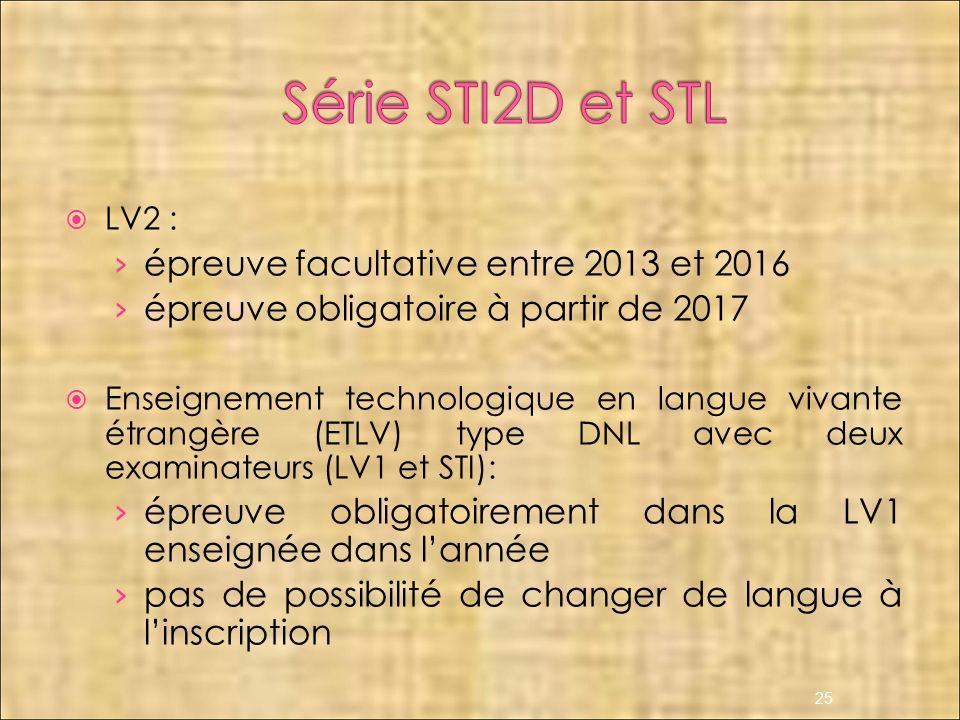 Série STI2D et STL épreuve facultative entre 2013 et 2016
