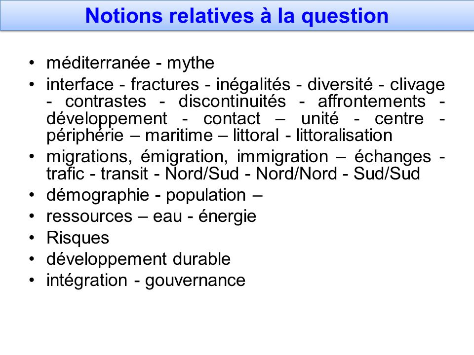 Notions relatives à la question
