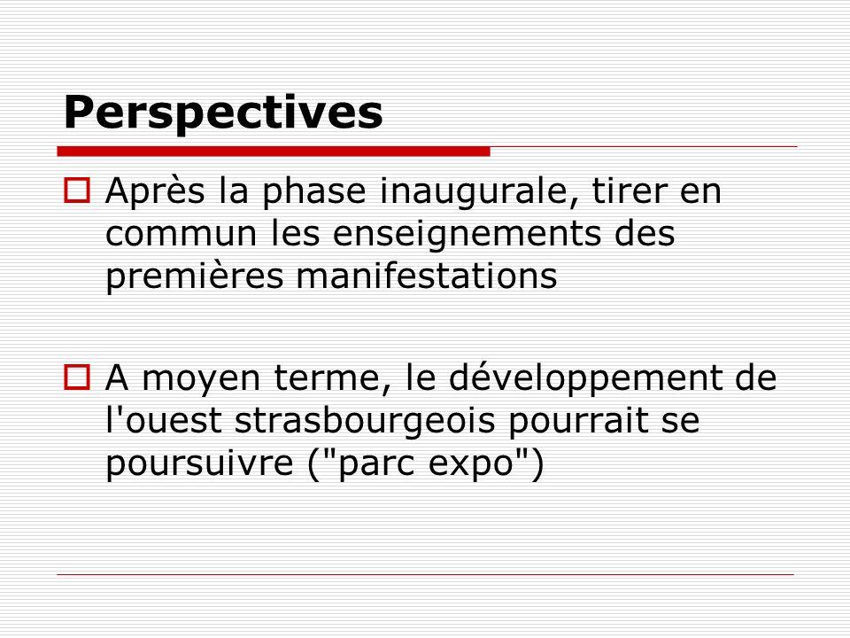 Perspectives Après la phase inaugurale, tirer en commun les enseignements des premières manifestations.