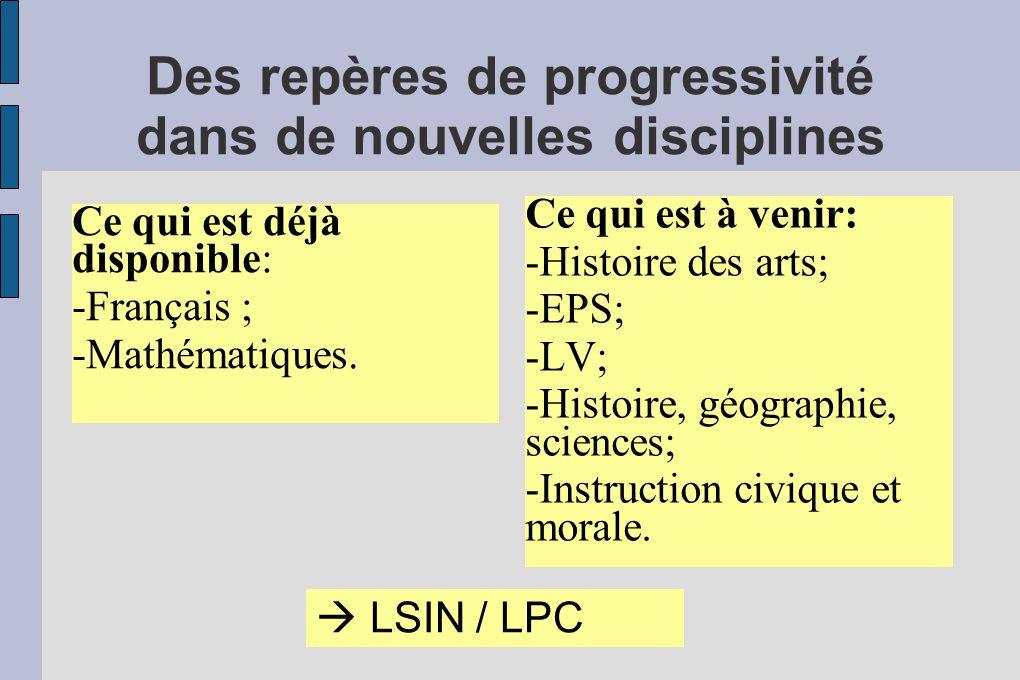 Des repères de progressivité dans de nouvelles disciplines