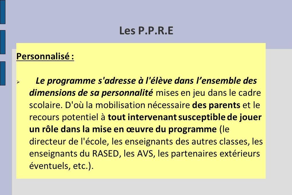 Les P.P.R.E Personnalisé :