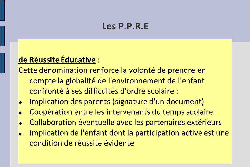 Les P.P.R.E de Réussite Éducative :
