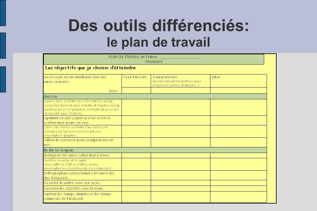 Des outils différenciés: le plan de travail