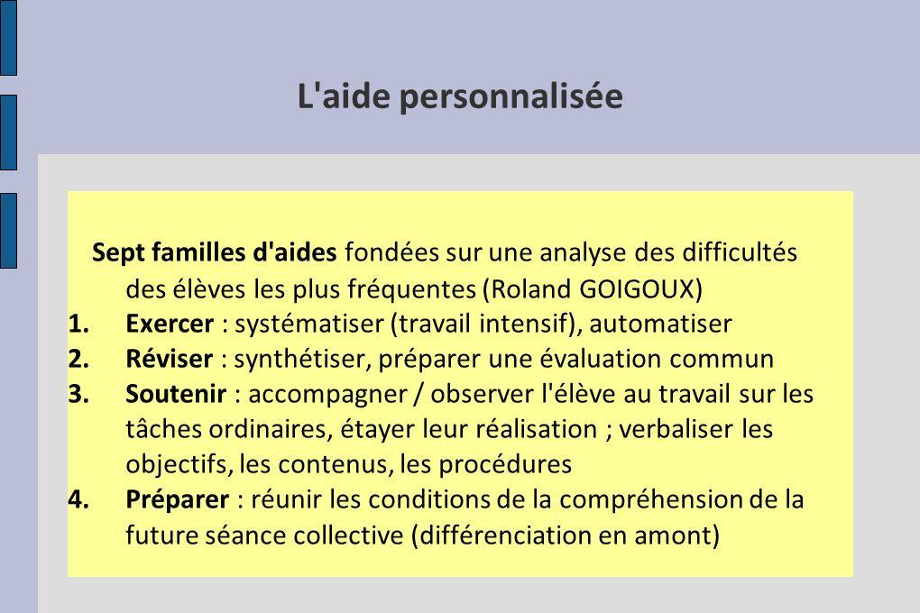L aide personnalisée Sept familles d aides fondées sur une analyse des difficultés des élèves les plus fréquentes (Roland GOIGOUX)