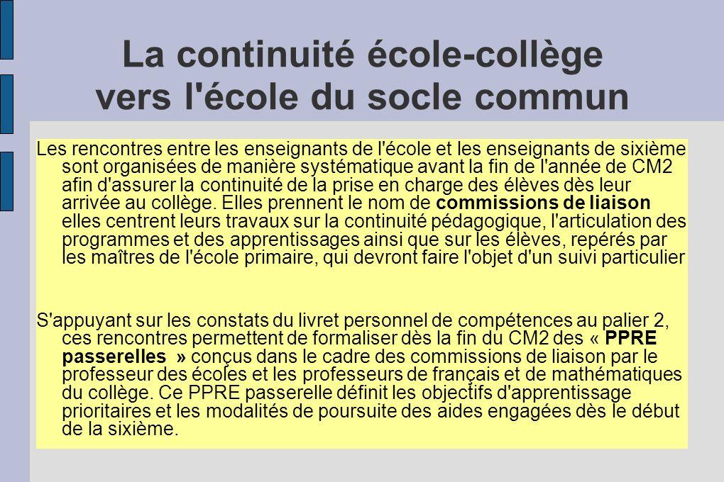 La continuité école-collège vers l école du socle commun