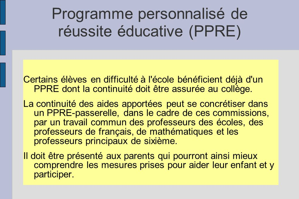 Programme personnalisé de réussite éducative (PPRE)