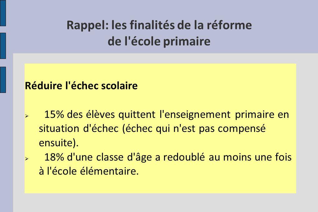 Rappel: les finalités de la réforme de l école primaire