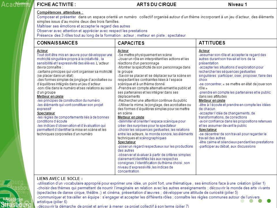 FICHE ACTIVITE : ARTS DU CIRQUE Niveau 1