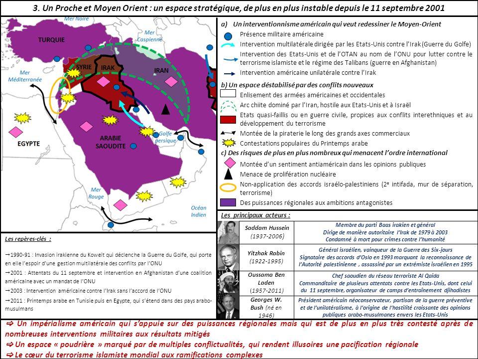 3. Un Proche et Moyen Orient : un espace stratégique, de plus en plus instable depuis le 11 septembre 2001