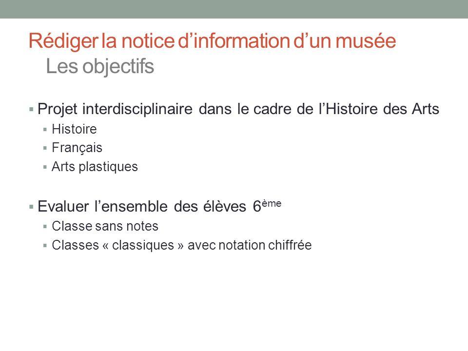 Rédiger la notice d'information d'un musée Les objectifs