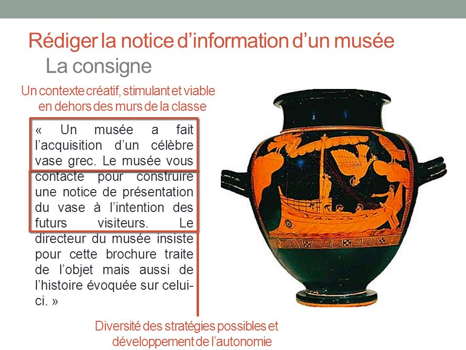 Rédiger la notice d'information d'un musée La consigne