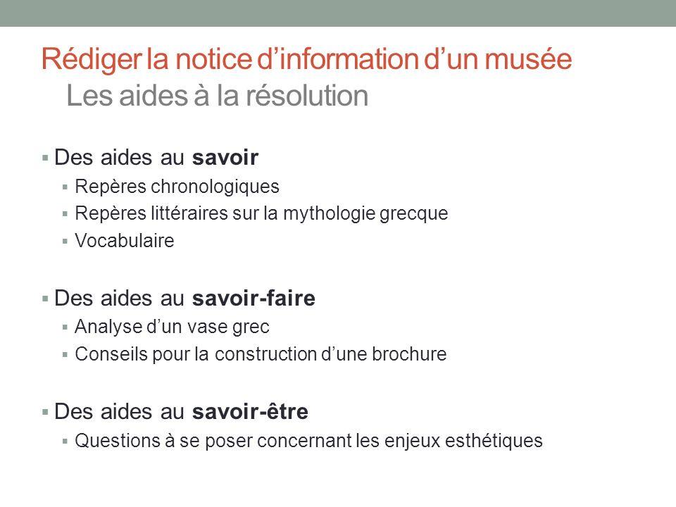 Rédiger la notice d'information d'un musée Les aides à la résolution