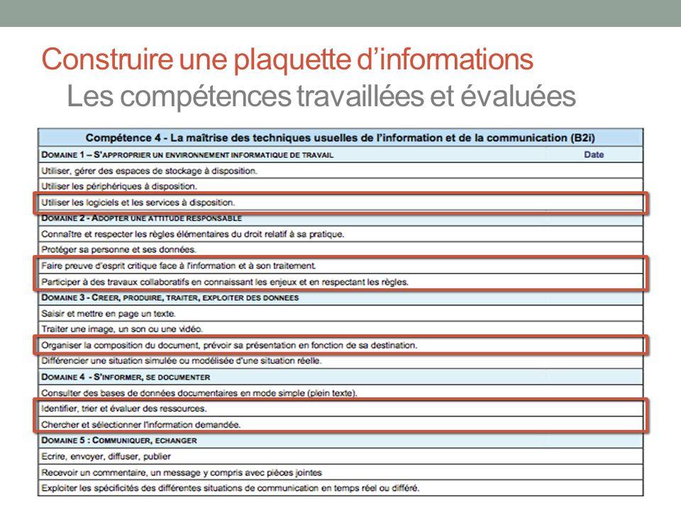 Construire une plaquette d'informations Les compétences travaillées et évaluées