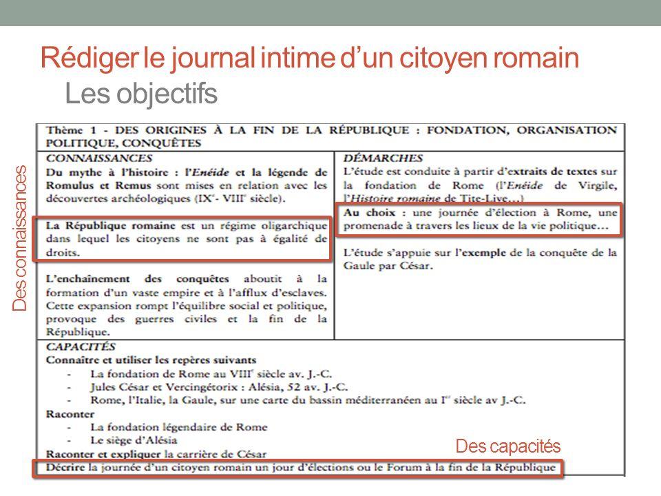 Rédiger le journal intime d'un citoyen romain Les objectifs
