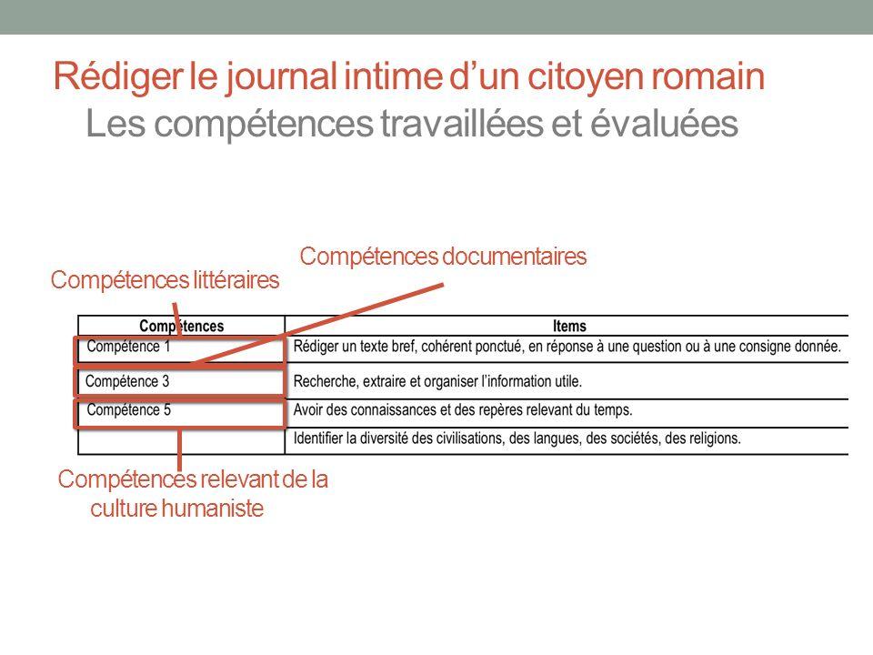 Rédiger le journal intime d'un citoyen romain Les compétences travaillées et évaluées