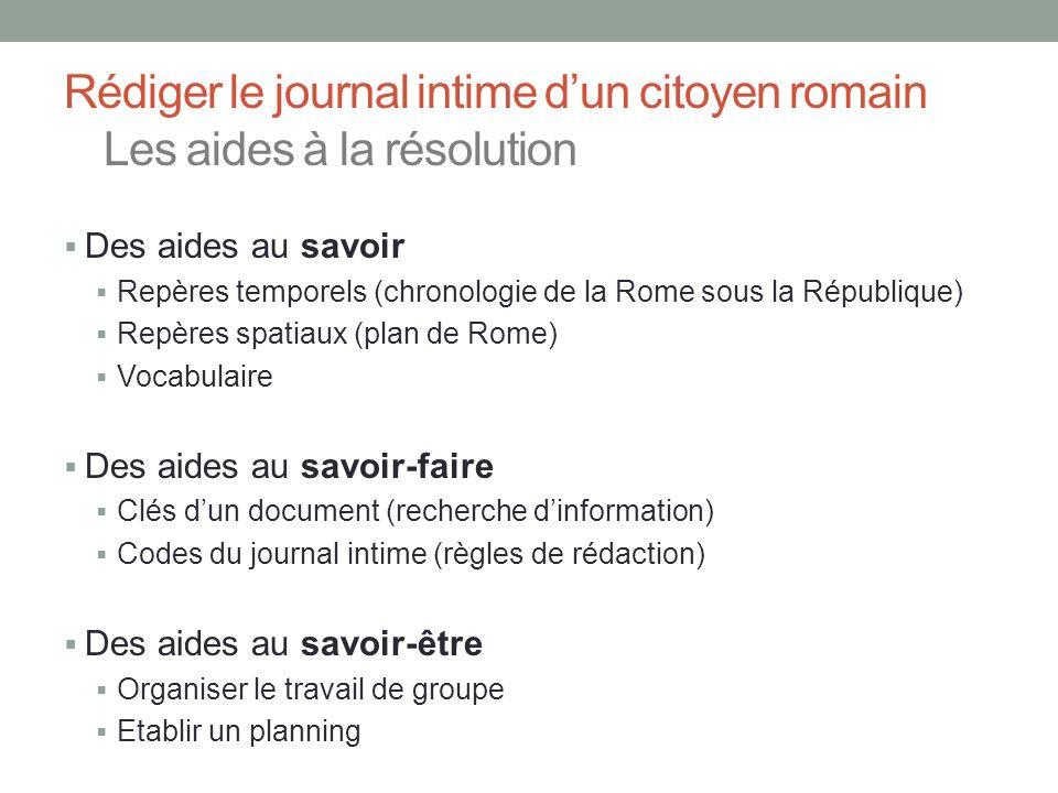 Rédiger le journal intime d'un citoyen romain Les aides à la résolution