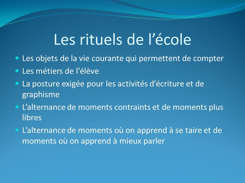 Les rituels de l'école Les objets de la vie courante qui permettent de compter. Les métiers de l'élève.