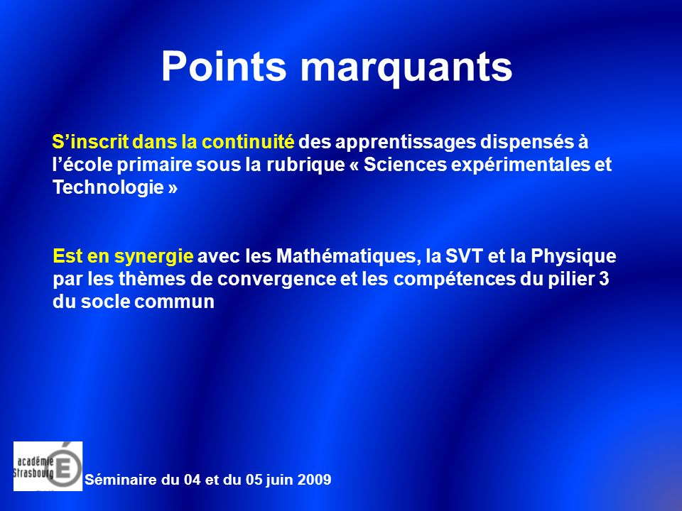 Points marquants