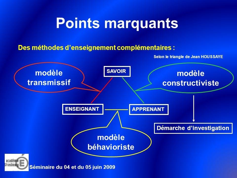 Points marquants modèle modèle transmissif constructiviste modèle